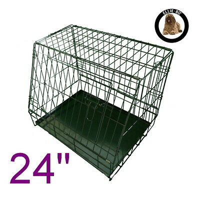 """Black 24"""" Small Sloping Foldable Car Dog Puppy Crate Hatchback Cage"""