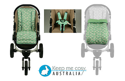 Keep Me Cosy Pram Liner+ Infant footmuff cover+ Harness +(patented) Buckle Cosy