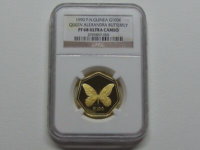 1990 P.n.guinea G100K Queen Alexandra Butterfly Pf 68 Ultra Cameo Pure Gold.
