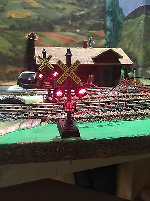 Model Power HO Scale Crossing Signal with Prewired two way switch lot of two