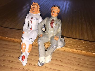 "S/O VINTAGE MAN and WOMAN 3"" TALL (METAL PEWTER FIGURE)  - Estate Sale"