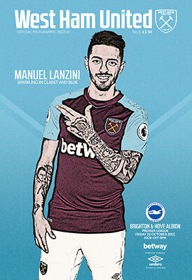 West Ham United V Brighton& Hove Albion- Official Programme-20Th October 2017