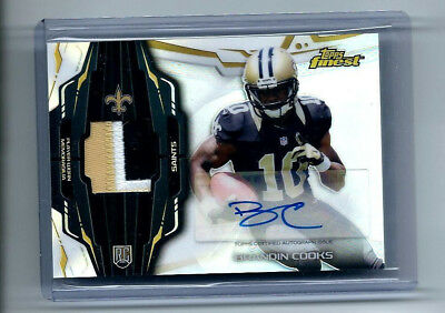 BRANDIN COOKS 2014 Topps Finest JERSEY AUTO ROOKIE CARD New England Patriots RC