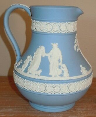 L@@k! Vintage Wedgewood Blue Jasperware Jug Pitcher Small 5.5 Inches Lovely!!!