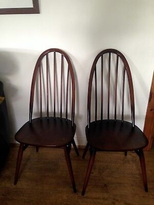 Pair Of Ercol Windsor Quaker Dining Chairs Excellent Hardly Used Condition