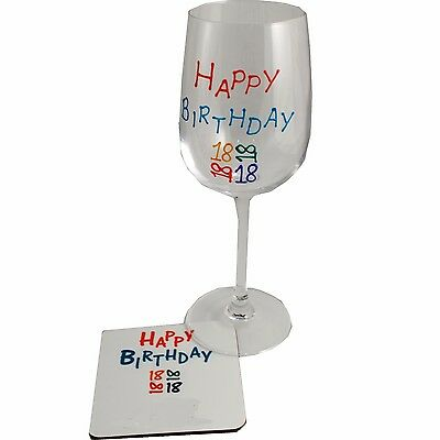 18th Birthday Wine Glass and Coaster Gift Set (Brights)