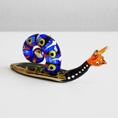 Blue Snail Figurine Animal Hand Paint Blown Glass Home Decorate Collectible Gift