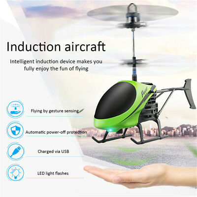 Electric Infrared Induction Helicopter Magic USB Aircraft LED Light Kid Toy Gift