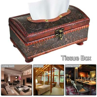 Crafted Wooden Antique Reproduction Colonial Style Tissue Box Cover - Retr-