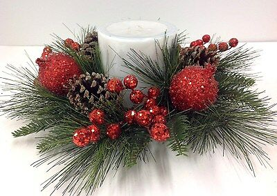 """Holiday Spirit Pine Candle Ring~Sugared Berries/Pomegranate. 14"""" Artificial."""