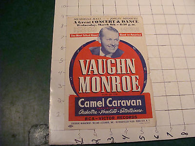 vintage Theatre ad sheet: VAUGHN MONROE 1940'S memorial hall JOPLIN MISSOURI