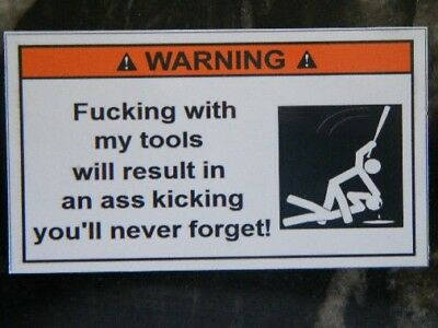 MAGNET - fing with my tools - Tool Box Warning Sticker - Must Have!!