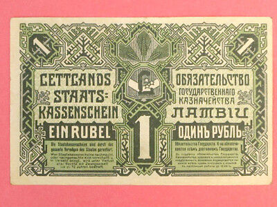 Independent Latvia First Money, 1 Rouble State Treasury Banknote 1919 VF