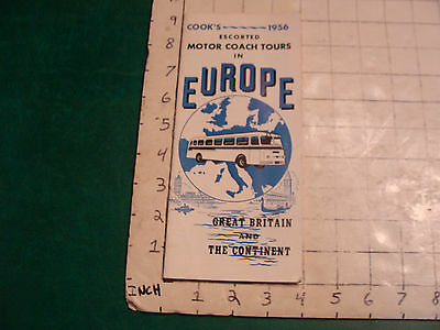 vintage Travel item: COOK'S 1956 escorted MOTOR COACH TOURS in Europe