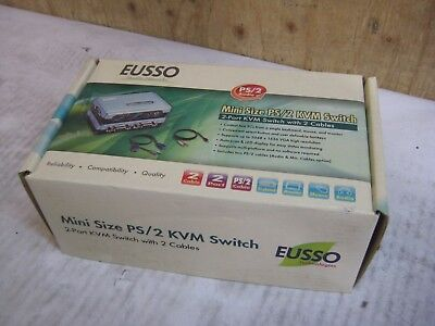 NEW EUSSO 2-Port Mini Size PS/2 KVM Switch UKS8102-P2B - QTY +