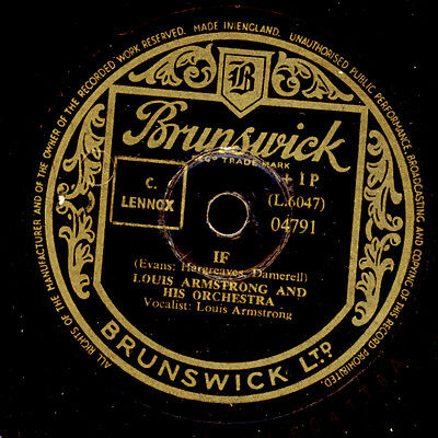 LOUIS ARMSTRONG & HIS ORCHESTRA   If / Unless    Schellackplatte 78rpm  X2653