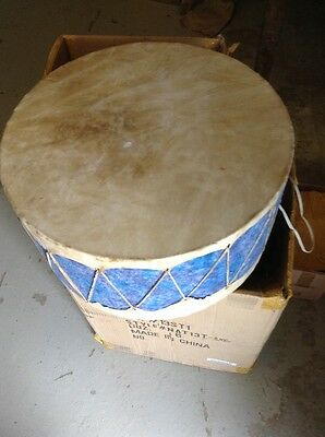 "16"" Wide Native American Nez Perce Made Elk Rawhide Double Headed Pow Wow Drum"