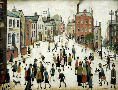 A Village Square  by LS Lowry   Giclee Canvas Print Repro