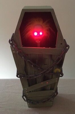 """Gemmy Animated Screaming Coffin Pop-Up Zombie Lit Eyes 9x18"""" Great!"""