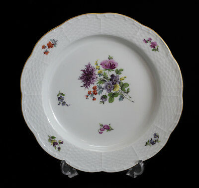 Meissen Germany Hand Painted Porcelain Plate, 19th Century. Floral Designs