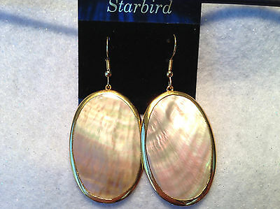 24k GOLD PLATED RAINBOW MOTHER OF PEARL  SEASHELL DANGLE EARRINGS 80's VINTAGE