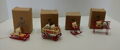 Avon Discontinued Teddy Bear Collection set of 4..Sled, Wagon, Rocker, Bench