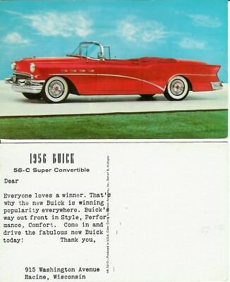 Glossy color postcard: 1956 BUICK 56-C Super Convertible, in excellent condition