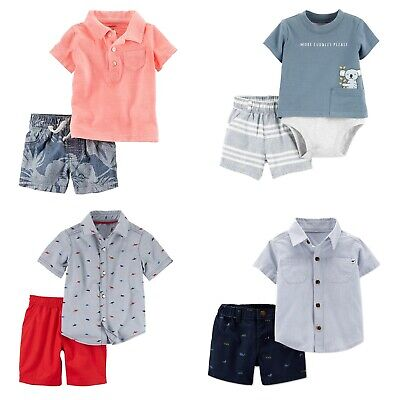 New Carters Baby/Toddler Boys 2Pc Polo or Button-Up Shirt & Canvas Shorts Set