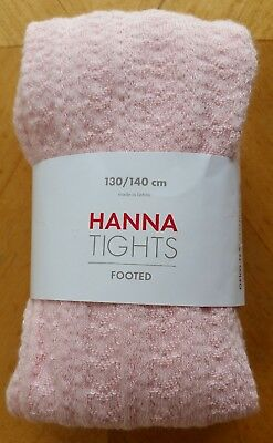 Nwt Hanna Andersson Cotton Footed Pretty Pink Pointelle Tights 130 140 8 10