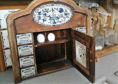 Vintage Wooden Delft Kitchen Spice Jars & Rack Cabinet with 12 Porcelain drawers