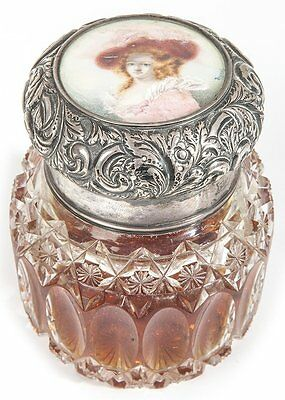 Antique Rare Sterling Silver Lid Crystal Perfume Bottle With Porcelain Insert