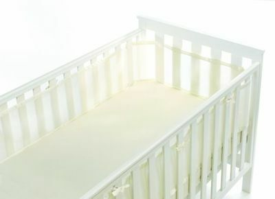 Breathable Baby Mesh Cot Liner 4 Sided Full Wrap Maximises Airflow Ivory