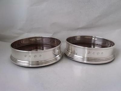 Smart Pair of Sterling Silver Wine Coasters/ Bottle Stands 1989/ Dia 12.1 cm