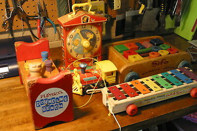 Vintage Lot of (5) Fisher-Price, Playskool, Sifo pull and play toys