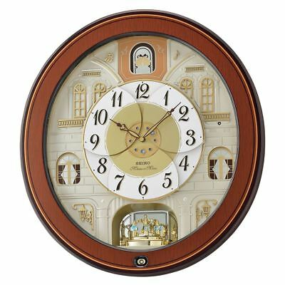 Seiko QXM368B Melody in Motion Wall Clock with Piano Finish Wooden Case