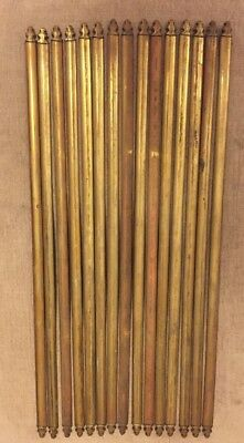 13x Antique Wooden Stair Rods w/Brass Ends 67cm long Patented Birmingham Maker