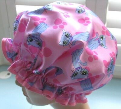 SHOWER CAP HAT designer   HANDMADE, WATERPROOF Pink with Blue glamour cats