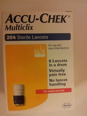ACCU-CHEK MULTICLIX STERILE LANCETS, 1 box of 200+4; NEW & SEALED. Exp 09/2020