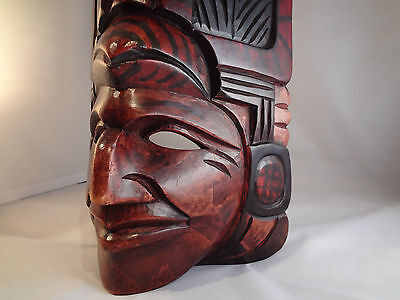 "Wood Hand Carved Mask Folk Art Aztec Mayan Native Chief Warrior Wood 16"" x 9.5"""