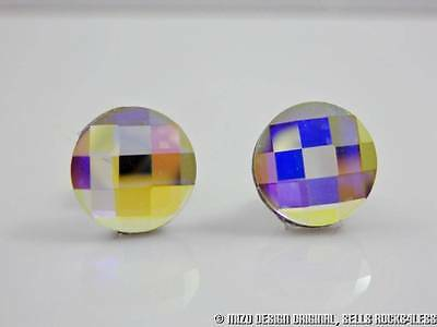 Round Chessboard Cut AB Crystal Studs with Vintage Swarovski Crystals