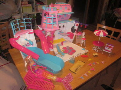 Barbie Sister's Cruise Ship with Lots of Accessories - Vacation - Mermaid Doll