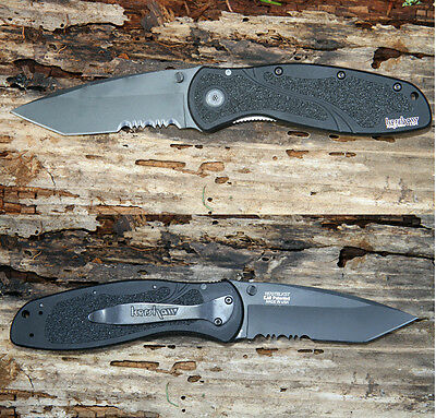 KERSHAW black BLUR ASSISTED opening Knife 1670TBLKST tactical tanto tip. Blem