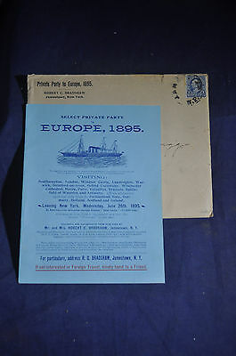1895 Select Private Party to Europe Tourist Brochure. Jamestown NY