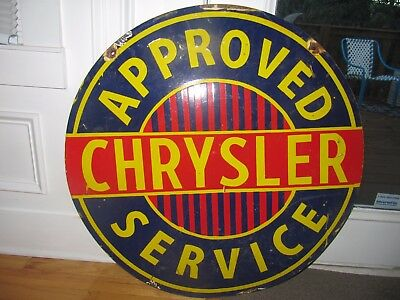 Old Chrysler Approved Service Double Sided Porcelain Sign