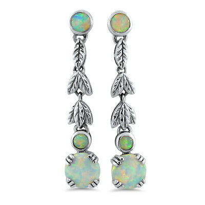 Victorian Antique Style 925 Sterling Silver Lab Opal Dangle Earrings