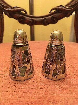 VINTAGE Mid Cent Modern SALT & PEPPER Shaker Shakers STERLING Silver 925