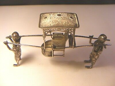 Antique Chinese Solid Silver Hallmarked Litter / Sedan Chair With Two Bearers