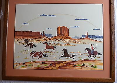 Large Eddie Tsosie galloping horses watercolor painting Native American Navajo