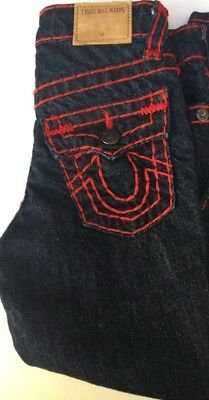 TRUE RELIGION Boys Youth GENO CONTRAST SUPER T, Rinse Blue JEANS Sz 8 Red