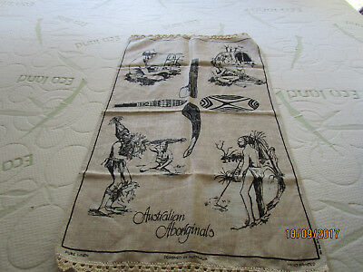 Pure Linen Tea Towel- Australian Aborinals - Edged Top And Bottom